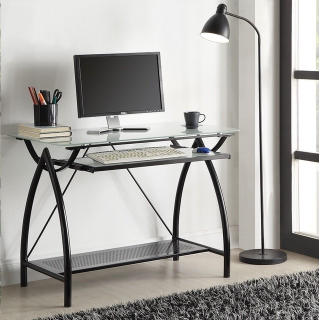 Metal Glass Top Desk with Keyboard Tray contemporary-desks-and-hutches