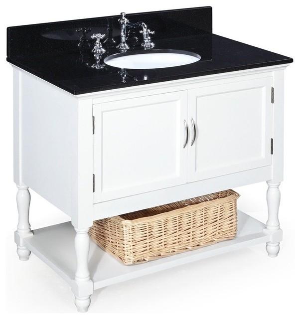 Beverly 36 In Bath Vanity Black White Transitional Bathroom Vanities An