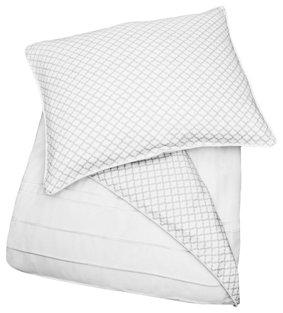 300 Thread Count  Reversible and Embroidered Duvet Cover, The Page Gray modern-duvet-covers-and-duvet-sets