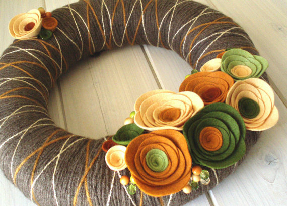 Yarn Wreath Felt Handmade Door Decoration Fall In by ItzFitz  holiday outdoor decorations