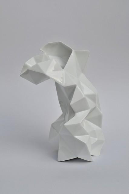 Modern Geometric White Porcelain Vase by Endesign