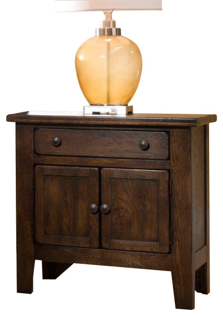 Broyhill Attic Heirlooms Vintage 1 Drawer and 2 Doors Night Stand-Natural Oak St - Transitional ...