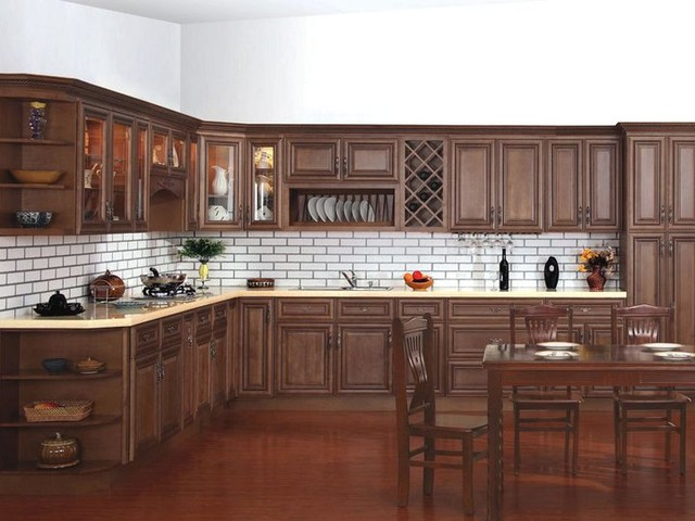 Chocolate Glaze Kitchen Cabinets Home Design - Traditional - Kitchen ...