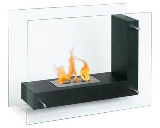 Moda Flame - Arta Contemporary  Indoor Outdoor L Shaped Ethanol Fireplace - Black - Arta ethanol contemporary ethanol fireplace is a transparent model visible from any angle in the room. Its double sided tempered glass, connected to an L shaped steel body, gives the effect of a floating flame.