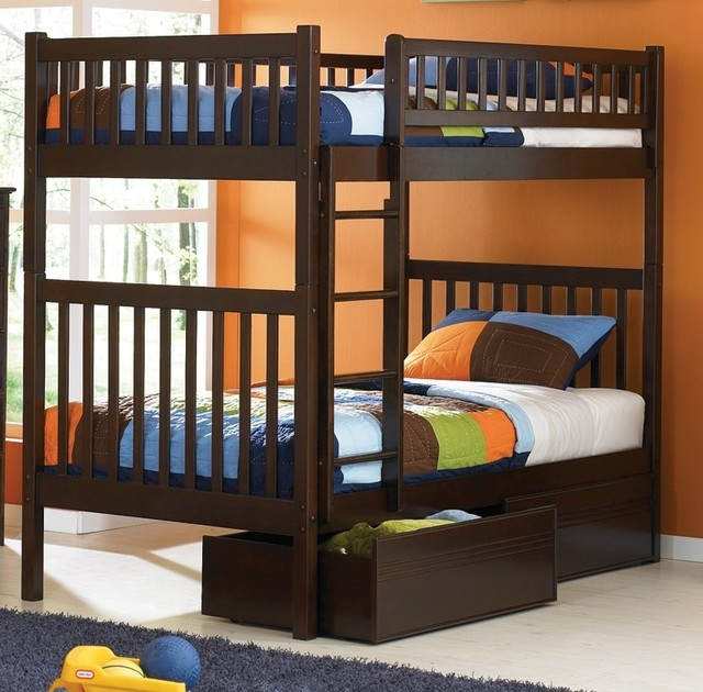 Arizona Twin Over Twin Bunk Bed w Flat Panel contemporary-bunk-beds