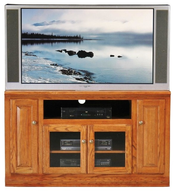 Classic Oak Thin Tall Entertainment Console (Light Oak) - Contemporary - Entertainment Centers ...