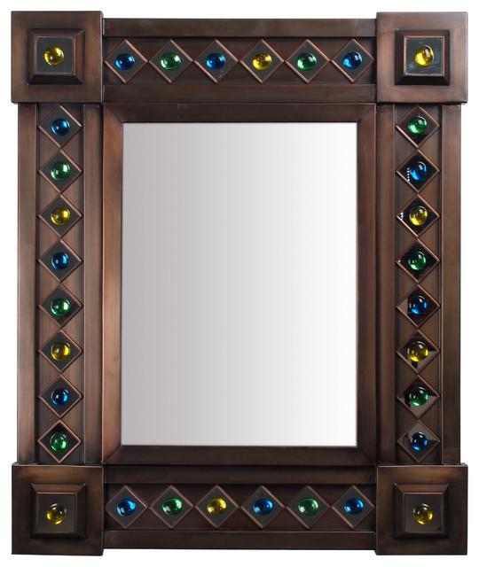 Large aged tin gem mirror rustic mirrors phoenix