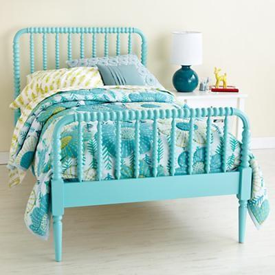Kids Aqua Blue Spindle Jenny Lind Bed Contemporary Kids Beds