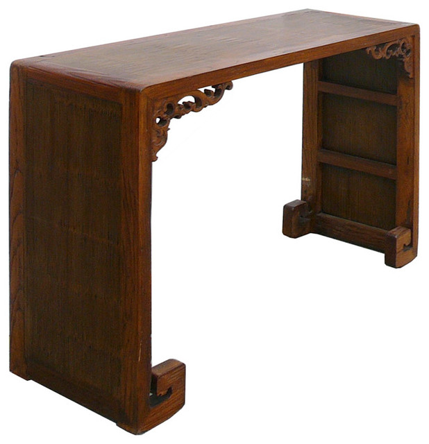Chinese Elm Wood Bamboo Scroll Altar Table asian-side-tables-and-end ...