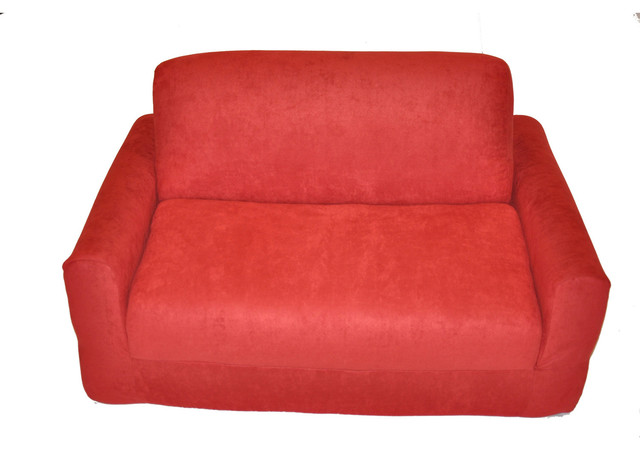 Fun Furnishings Micro Suede Sofa Sleeper with Pillows in Red traditional-kids-sofas