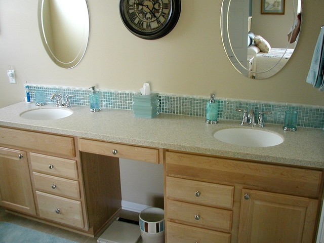 Glass tile backsplash traditional bathroom cleveland by architectural justice Bathroom designs with tile backsplashes
