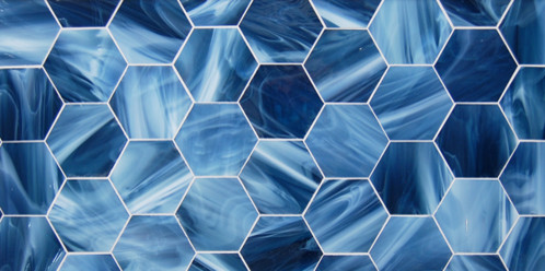 Evening Shade - glass hexagon eclectic-tile