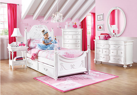 Disney princess white twin poster bedroom contemporary for Room to go kid
