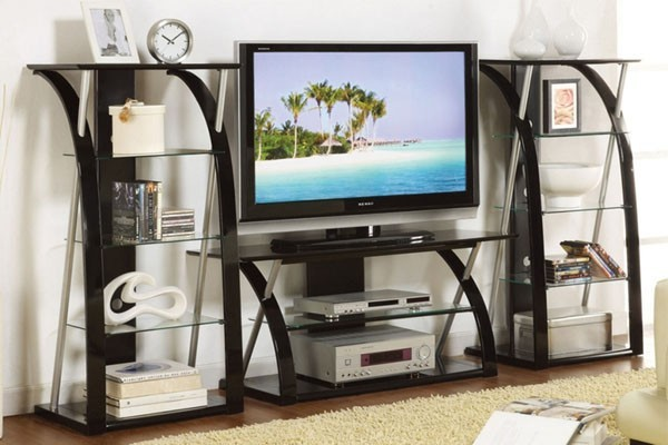 Poundex Furniture Cheap Contemporary Tv Stand With 2 Towers 47f4496 Contemporary