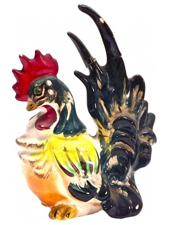 Vintage Ceramic Rooster - Vintage Ceramic Rooster III, with red, yellow, and dark greenish black accents