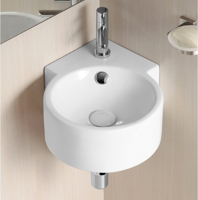 Round Wall Hung Basin : Unique Round Wall Mounted Corner Ceramic Sink by Caracalla ...