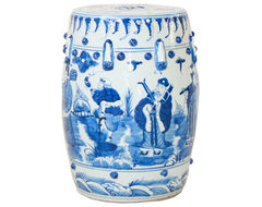 Blue and White Garden Stool asian side tables and accent tables