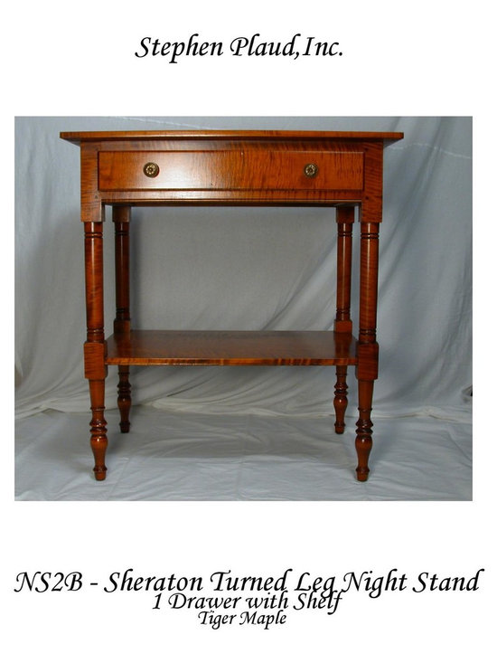 Sheraton-style Work Table - 19th Century Work Tables were designed  to provide a more generous surface than a nightstand in order to lay out one's needlework or other project.  Today, the proportions of these classic tables work well with our larger 20th & 21st Century beds. Useful too in entryways for mail, gloves, etc. or behind a sofa to hold a lamp. Shown in tiger maple and available in other hardwoods.