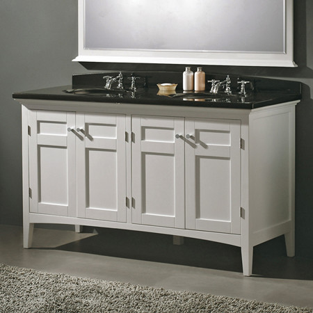 portland 60-in double vanity (white w/ white granite top) contemporary-bathroom-vanities-and-sink-consoles