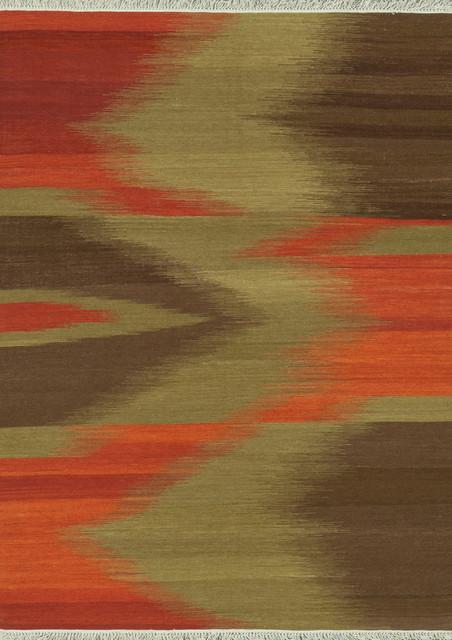 "Santana SA-05 7'6"" x 9'6"" Red, Brown Rug contemporary-rugs"