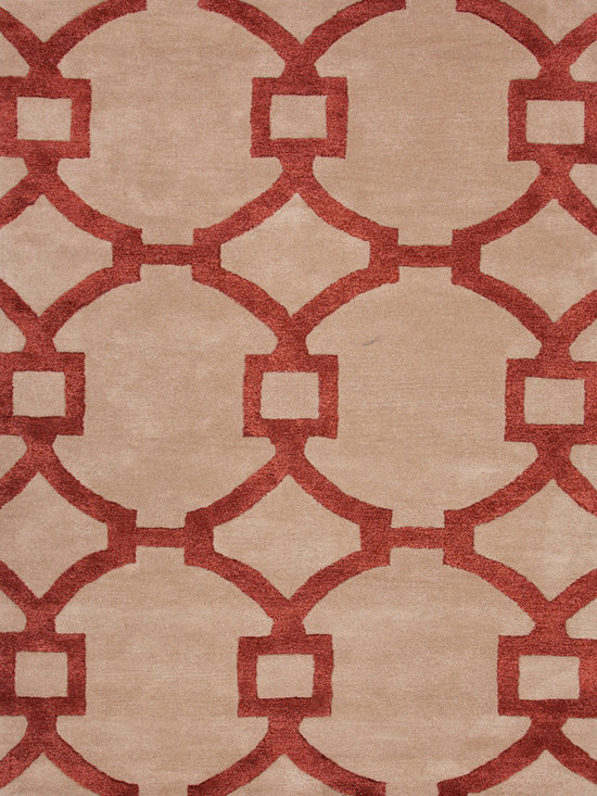 Jaipur Rugs - Modern Geometric Pattern Red /Orange Wool/Silk Tufted Rug - CT05, 9.6x13.6 - Over scaled sharp geometrics characterize this striking contemporary range of hand tufted rugs. The high/low construction in wool and art silk creates texture and surface interest and gives a look of matt and shine.