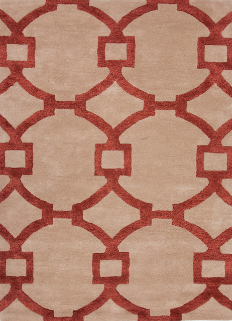 Modern Geometric Pattern Red /Orange Wool/Silk Tufted Rug - CT05, 9.6x13.6 contemporary-area-rugs