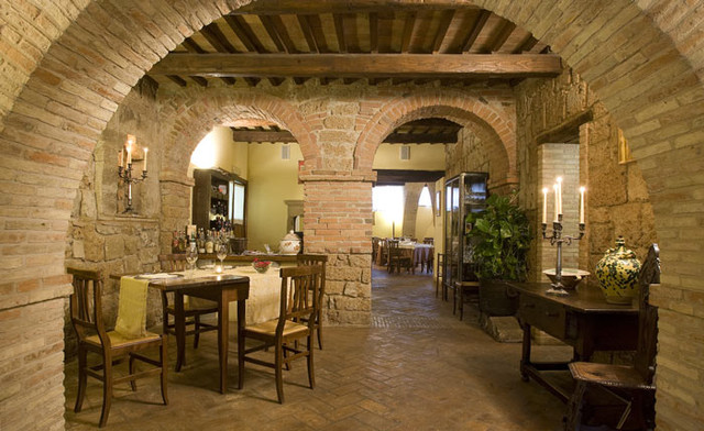 OLD SPANISH TERRACOTTA TILES it is DESIGN FLOOR in SPANISH STYLE traditional-wine-cellar