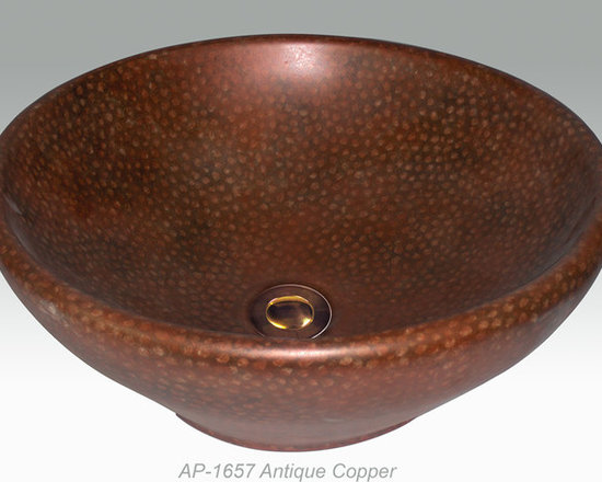 """Hand Painted Vessels Sinks by Atlantis - """"ANTIQUE COPPER"""" Shown on AP-1657 Nice vessel sink O/D 17-1/2"""" Dia x 7"""" H center drain with and without overflow."""