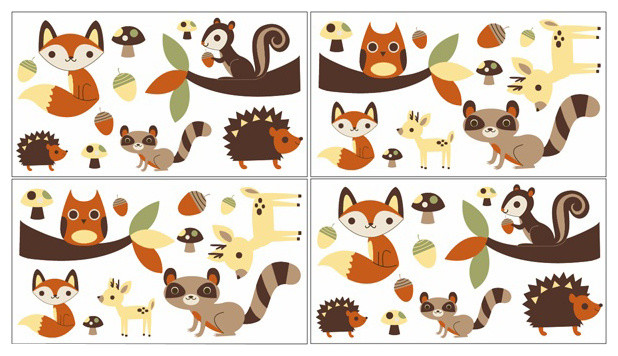 Forest Friends Wall Decals - Set of 4 by Sweet Jojo Designs contemporary-kids-decor