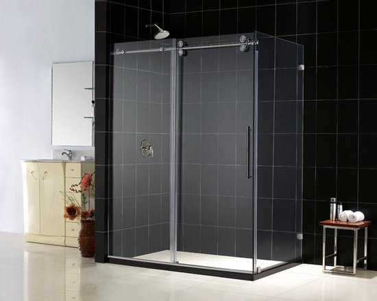 "DreamLine Enigma 60"" x 36"" Shower Enclosure SHEN-60366012 - Add the amazing look of a heavy glass shower enclosure to your bathroom design project. The DreamLine™ ENIGMA Collection shower enclosures offer unique design, flawless functionality and exceptional value. The 1/2"" thick heavy glass shower enclosure, with the exclusive ClearGlass™ protective coating, includes a beautiful door which slides effortlessly on oversized stainless steel wheels over an impressive stainless steel track bar. Features like the anti-splash threshold and convenient handle provide additional elements of advanced design for this world-class shower enclosure. With flexibility of either left-wall or right-wall installation and options of polished or brushed finish for its all-stainless steel hardware, the ENIGMA shower enclosure will be the centerpiece of the Bathroom of Your Dreams™"