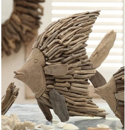 Driftwood Angelfish - contemporary - sculptures - by Coastal Style