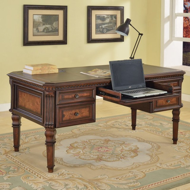 Parker House Corsica Writing Desk - Antique Vintage Dark Chocolate Multicolor - - Contemporary ...