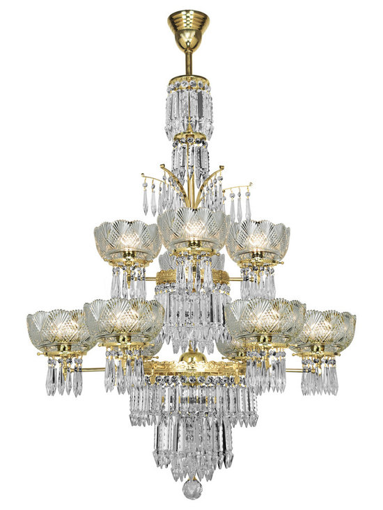 Victorian Chandeliers - Doubletier ten light crystal chandelier originally made C. 1870 by Oxley-Giddings.  Now made as an electric fixture with UL approved components.