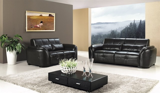 Natalie black leather sofa set modern living room furniture sets by - Modern living room furniture set ...