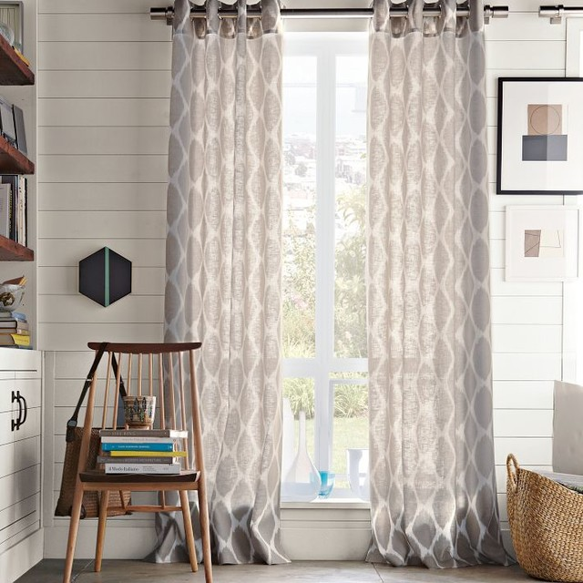 Ikat ogee linen curtain ivory platinum contemporary for West elm window treatments