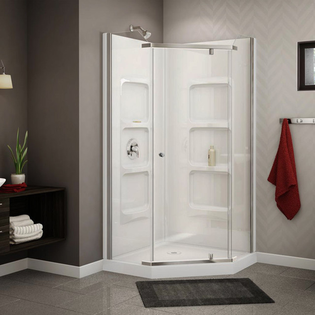 Nevada 38 Inch Pure Acrylic Neo Angle Corner Shower Stall Contemporary Sh