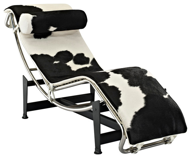 Le corbusier style lc4 chaise in white and black pony hide for Chaise longue le corbusier pony