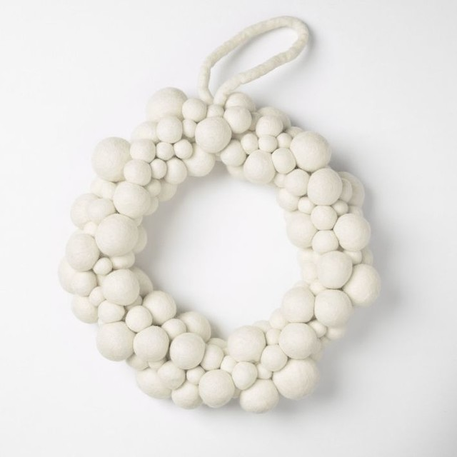 Felt White Wreath contemporary-wreaths-and-garlands