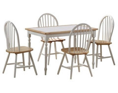 The Farmhouse Tile Top Rectangular 5-Piece Dining Table Set combines traditional traditional dining tables