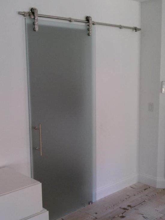Barnyard Style Sliding Doors - Acid Etched Glass Barnyard Style Sliding Door with Laguna Series over-the-door hardware