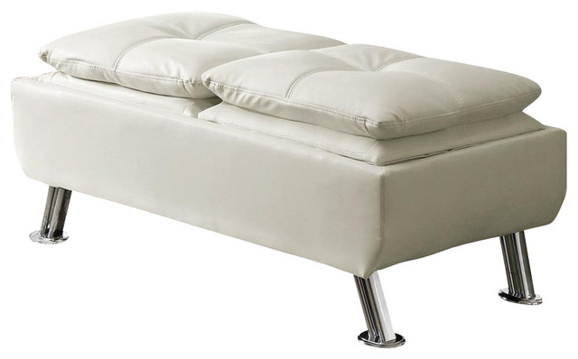 How To Choose The Best Leather Cocktail Ottoman : ... Cocktail Storage Ottoman in White - Modern - Footstools And Ottomans