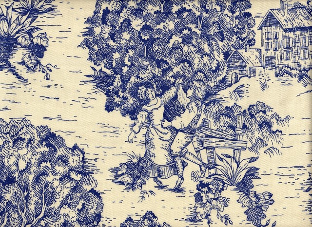"18"" Bed Skirt Tailored Indigo Blue Toile traditional-bedding"