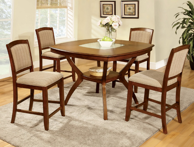 Height Crack Glass Insert 5 Piece Dining Se Contemporary Dining Tables