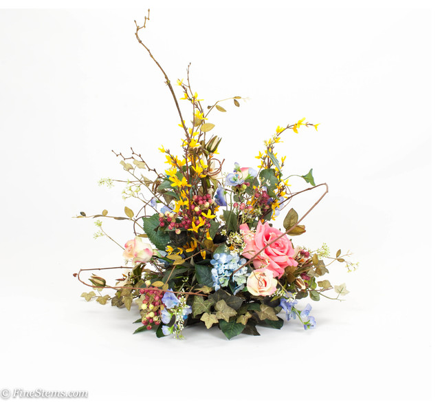 Silk floral spring centerpiece arrangement traditional
