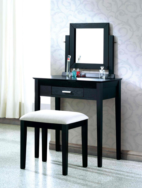 black grain veneer 2pcs vanity set grey fabric stool by