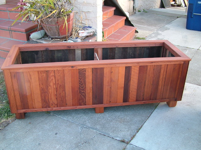 Examples of Custom Redwood Planters traditional
