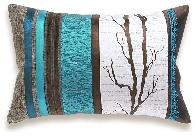 Decorative Pillows In Turquoise : White Turquoise Blue Dark Chocolate Brown Lumbar Pillow Case 12 x 18 in