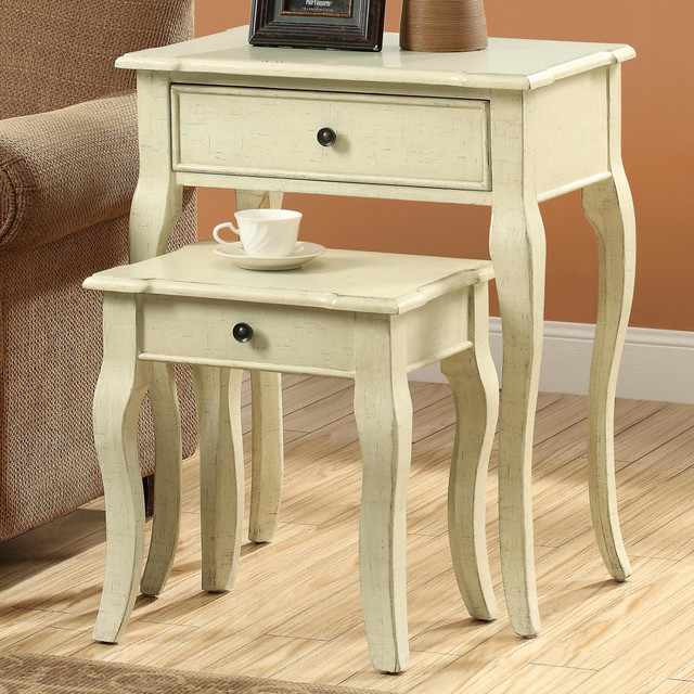 Antique White Veneer 2pcs Nesting Table Set Contemporary Side Tables And End Tables By