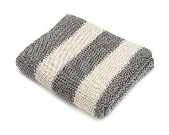 Belle & June - Grey Stripe Cotton Blanket - Stripe it rich with this classic cuddly blanket. The look is timeless, and the feel of 100 percent cotton is wonderfully warm. Place it on your bed, couch or favorite chair — it's sure to become your go-to throw.