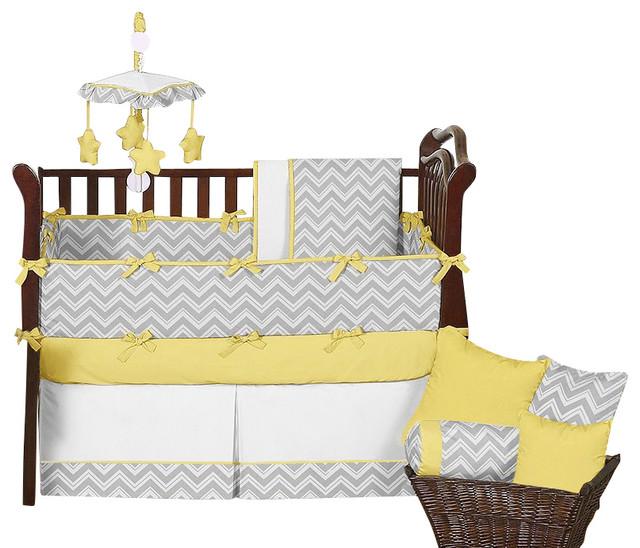 Zig Zag Yellow And Gray Chevron 9 Piece Baby Crib Bedding